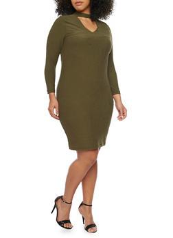 Plus Size Keyhole Long Sleeve Bodycon Dress - OLIVE - 1390060583250