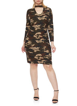 Plus Size Camo Dress with Choker Collar - 1390060583374