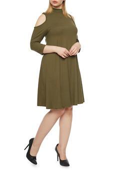 Plus Size Cold Shoulder Mock Neck Swing Dress - 1390060584250