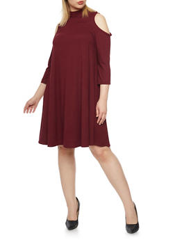 Plus Size Cold Shoulder Mock Neck Swing Dress - 1390060584250