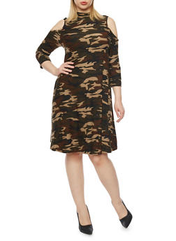 Plus Size Cold Shoulder Camo Swing Dress - 1390060584474