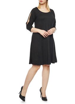 Plus Size Split Sleeve Scoop Neck Swing Dress - BLACK - 1390060585250