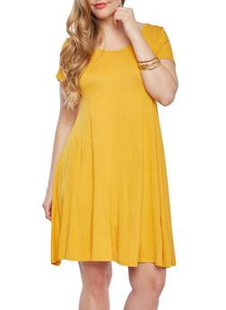 Plus Size Swing Dress With Short Sleeves,MUSTARD,medium