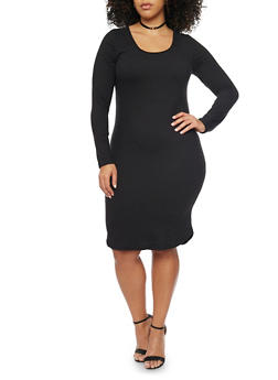 Plus Size Knit Long Sleeve Dress - BLACK - 1390060589250