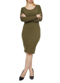 Plus Size Knit Long Sleeve Dress - 1390060589250