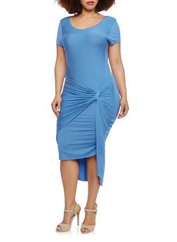 Plus Size Dress with Twist Front - 1390061633699