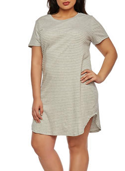 Plus Size Ribbed Dress in Stripes - 1390061633929