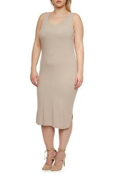 Plus Size Maxi Dress in Rib Knit - 1390061634029