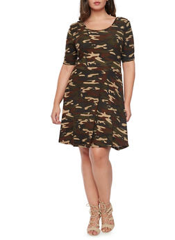 Plus Size Scoop Neck Camo Skater Dress - 1390061634579