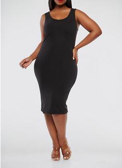 Plus Size Midi Tank Dress - BLACK - 1390061636609