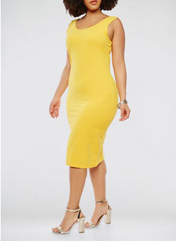 Plus Size Midi Tank Dress - GOLD - 1390061636609