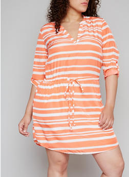 Plus Size Abstract Striped Dress with Tabbed Sleeves - 1390061637989