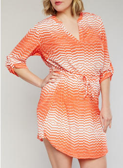 Plus Size Mandarin Collar Printed Dress with 3/4 Sleeves - 1390061638027