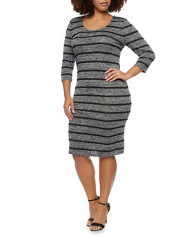Plus Size Marled Midi Dress with Striped Print - BLACK - 1390061639430