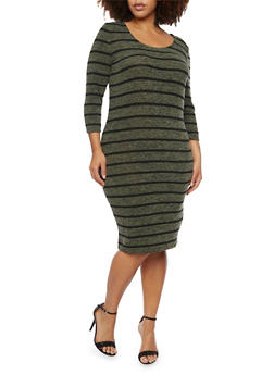 Plus Size Marled Midi Dress with Striped Print - OLIVE - 1390061639430