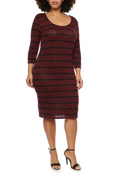 Plus Size Marled Midi Dress with Striped Print - BURGUNDY - 1390061639430