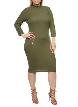 Plus Size Ribbed Mock Neck Dress with Zipper Details - OLIVE - 1390061639447