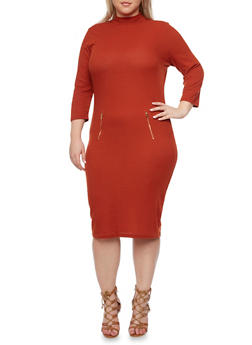 Plus Size Ribbed Mock Neck Dress with Zipper Details - RUST - 1390061639447