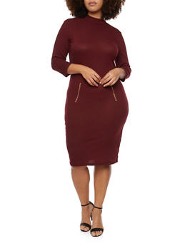 Plus Size Ribbed Mock Neck Dress with Zipper Details - BURGUNDY - 1390061639447