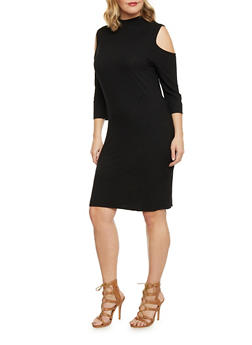 Plus Size Mid Length Cold Shoulder Dress - BLACK - 1390061639452