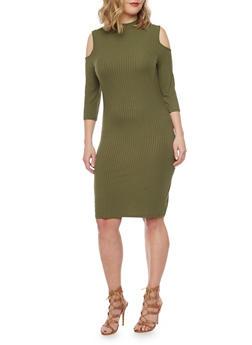 Plus Size Mid Length Cold Shoulder Dress - OLIVE - 1390061639452