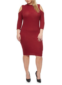 Plus Size Mid Length Cold Shoulder Dress - 1390061639452