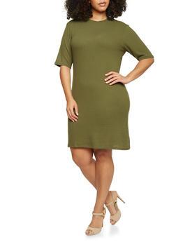 Plus Size Mock Neck T Shirt Dress - OLIVE - 1390061639453
