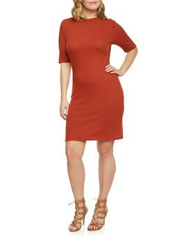 Plus Size Mock Neck T Shirt Dress - RUST - 1390061639453