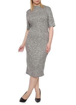 Plus Size Rib Knit Midi Dress - 1390061639455