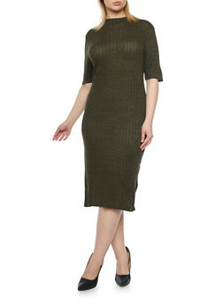 Plus Size Rib Knit Midi Dress - OLIVE - 1390061639455