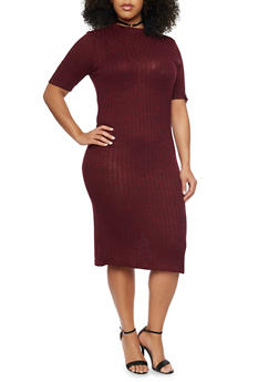 Plus Size Rib Knit Midi Dress - 1390061639455