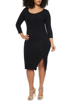 Plus Size Rib Knit Wrap Slit Dress - BLACK - 1390061639458