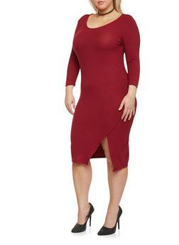 Plus Size Rib Knit Wrap Slit Dress - 1390061639458