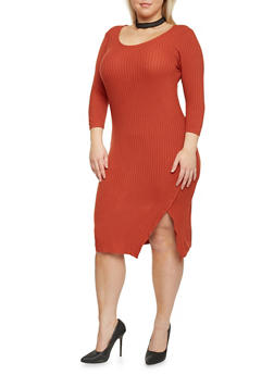 Plus Size Rib Knit Wrap Slit Dress - 1390061639458