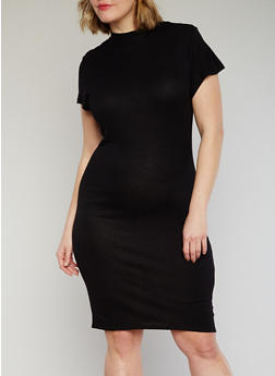 Plus Size Ribbed Mock Neck Bodycon Dress - BLACK - 1390061639476