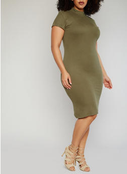 Plus Size Ribbed Mock Neck Bodycon Dress - OLIVE - 1390061639476