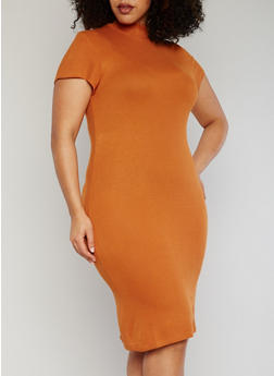 Plus Size Ribbed Mock Neck Bodycon Dress - ORANGE - 1390061639476