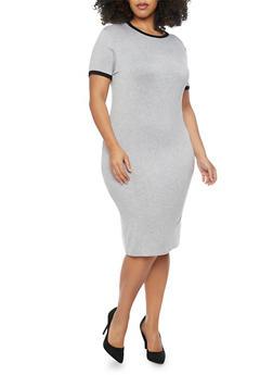 Plus Size Mid Length Contrast Trim T Shirt Dress - 1390061639478
