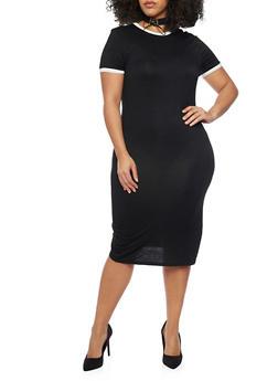 Plus Size Mid Length Contrast Trim T Shirt Dress - BLACK/WHITE - 1390061639478