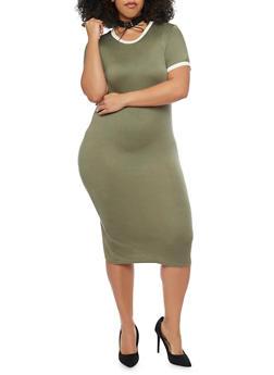 Plus Size Mid Length Contrast Trim T Shirt Dress - OLIVE - 1390061639478