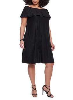 Plus Size Off The Shoulder Ruffle Overlay Shift Dress - BLACK - 1390061639488