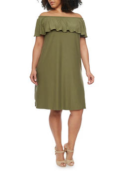 Plus Size Off The Shoulder Ruffle Overlay Shift Dress - OLIVE - 1390061639488