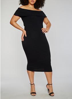 Plus Size Off the Shoulder Rib Knit Midi Dress - 1390061639489