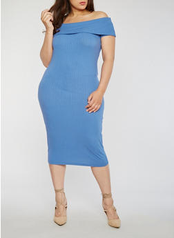 Plus Size Off the Shoulder Rib Knit Midi Dress - 1390061639489