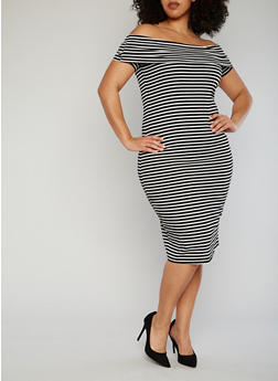 Plus Size Striped Off The Shoulder Bodycon Dress - BLACK/WHITE - 1390061639490