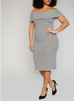 Plus Size Striped Off The Shoulder Bodycon Dress - WHT-BLK - 1390061639490