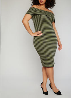 Plus Size Striped Off The Shoulder Bodycon Dress - OLIVE - 1390061639490
