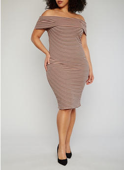Plus Size Striped Off The Shoulder Bodycon Dress - BLUSH - 1390061639490