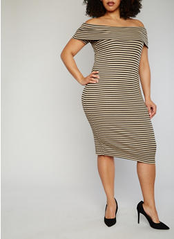 Plus Size Striped Off The Shoulder Bodycon Dress - TOWN TAUPE - 1390061639490
