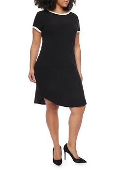 Plus Size Ringer T Shirt Dress - BLACK/WHITE - 1390061639496